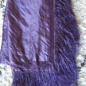 Silky purple tassel scarf/wrap